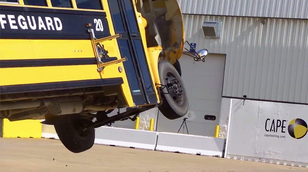 Almost 150 spectators were stunned to see a speeding school bus actually fly for the first time on June 7 during the STN EXPO live demonstration in Indiana. (Photo by David George.)