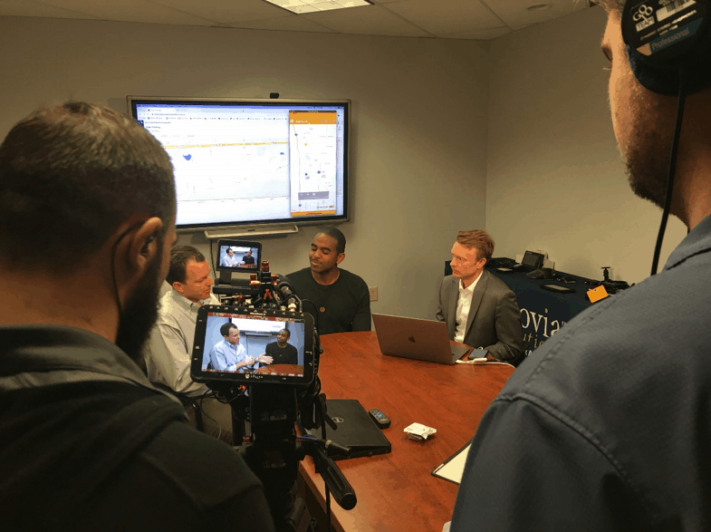 Synovia Founders, Brad Bishop, left, and Thomas Polan, right are interviewed by Innovation Nation correspondent Albert Lawrence.