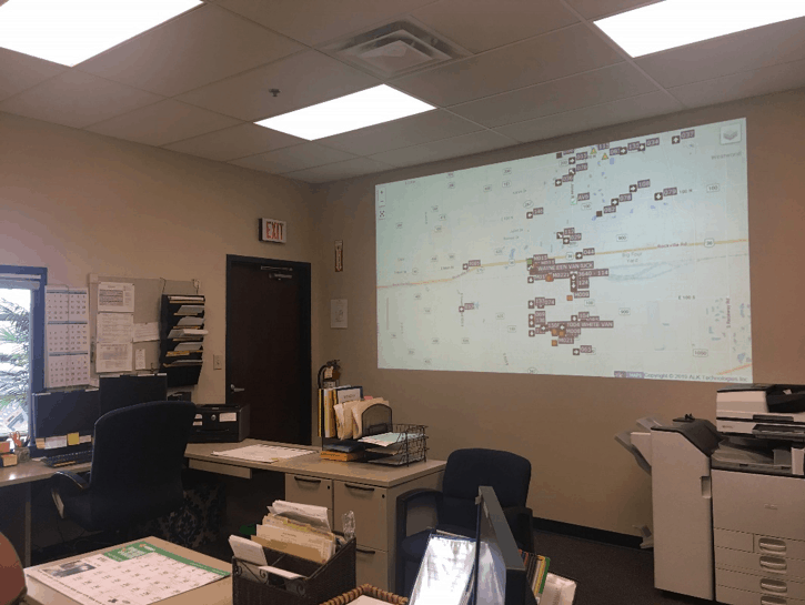 Avon Schools transportation officials project the Synovia software onto a wall in their dispatch center so the entire team can have real-time access to all of their buses as they run their daily routes.