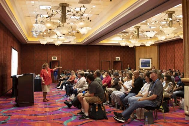 A trainer for PTSI, Betty Hughes, discussed student dragging incidents at the STN EXPO 2019 in Reno on July 29.
