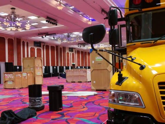 A behind the curtain look at the beginning stage of onsite booth setup preparations.