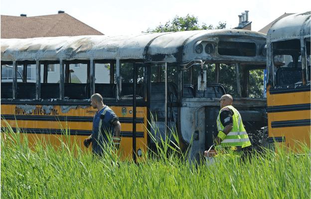 Burnt school buses