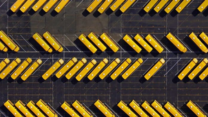 Ariel shot of a school bus yard