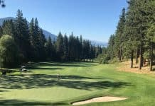 View of the Chateau Golf Course at Incline Village with Lake Tahoe in the distance.