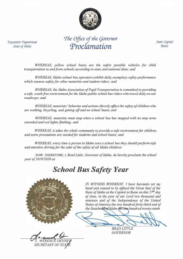 Idaho school bus proclamation