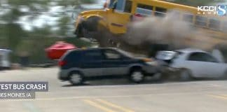 Student transporters from across Iowa gathered in Des Moines on July 15, 2019 to witness a test crash amid a State Board of Education debate on whether or not to install seat belts on all school buses statewide. (Screen capture of a KCCI broadcast).