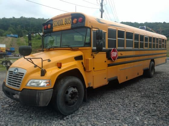 The 2017 Blue Bird diesel bus used by researchers at West Virginia University to gauge NOx emission levels.