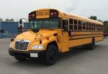 The model-year 2017 Blue Bird Vision Propane school bus that was used by researchers last year.