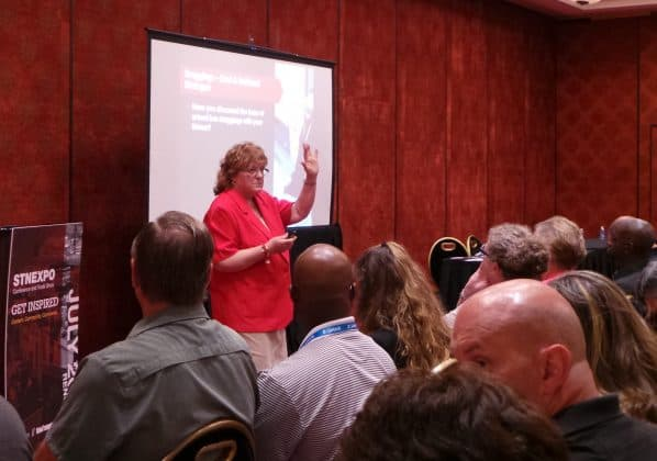 Betty Hughes engaged her attendees on student dragging incidents.