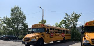 Cranston School District installed the first two units of the extended stop-arm by Bus Safety Solutions in Rhode Island. (Photo courtesy of Drive On Guard, Inc.)