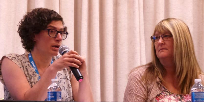Bethany Gross and Launi Harden during the panel on charter schools.