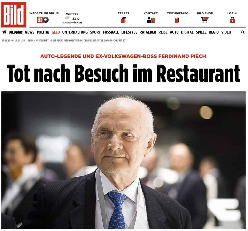 News of the passing of Ferdinand Piech.