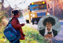 Student waiting for school bus