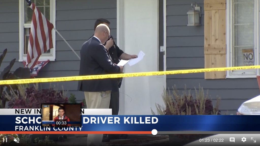 Columbus City Schools bus driver John Clinedinst, 54, was fatally stabbed to death outside his home on Tuesday morning, Sept. 24, according to police. (Photo is a screen capture from an NBC4 news broadcast.)