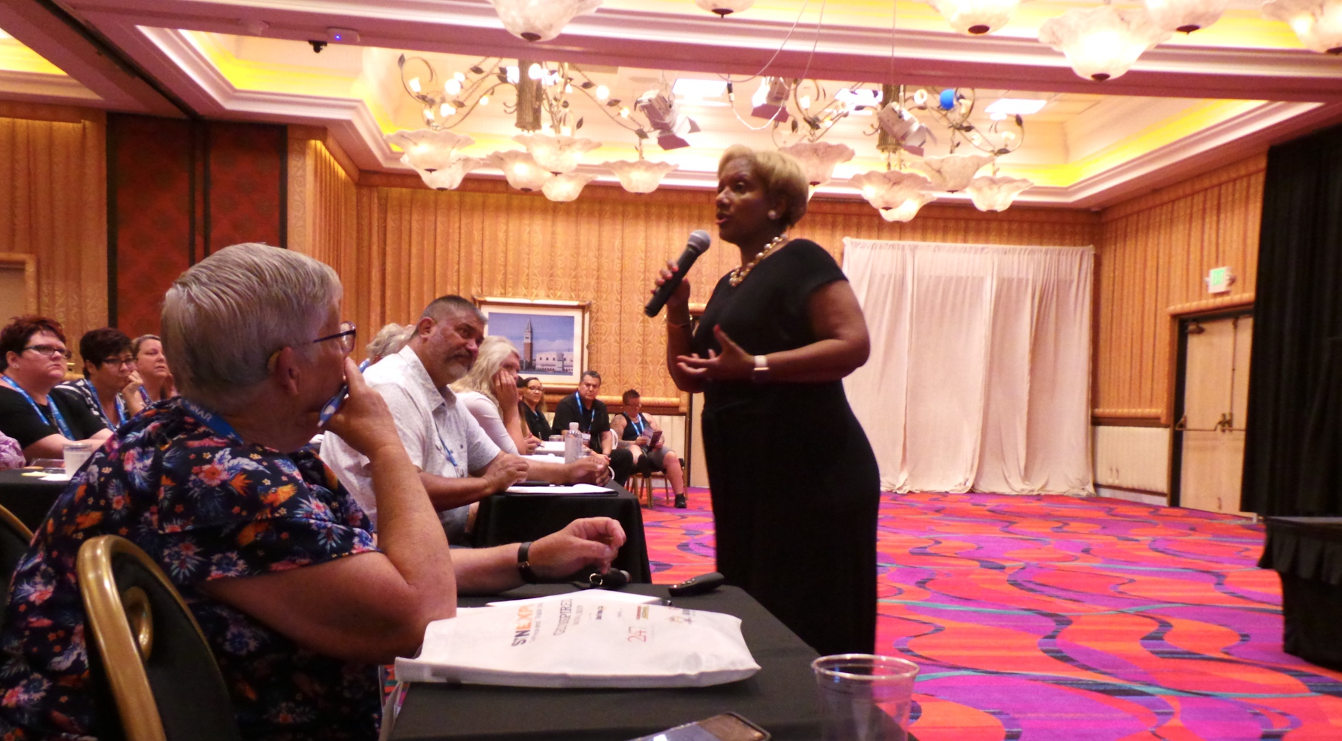 Gene' Henderson discussed the dangers of using CBD oil for pain relief in the transportation industry, at STN's annual conference in Reno in July. (Photo by David George.)