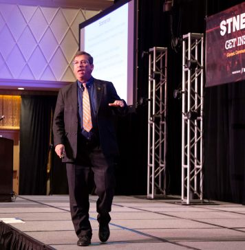 National security expert Michael Dorn discussed the challenges of school bus security during the STN EXPO Reno on Monday, July 29, 2019. (Photo by Taylor Hannon.)