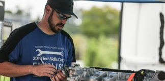Joe Speelman of Western Idaho Freightliner in Napa, Idaho, won the vehicle category at DTNA's Technician Skills Competition 2019.
