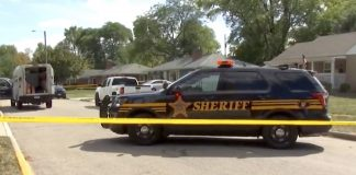 The crime scene of the murdered school bus driver in Columbus, Ohio. (NBC4 broadcast screen capture.)