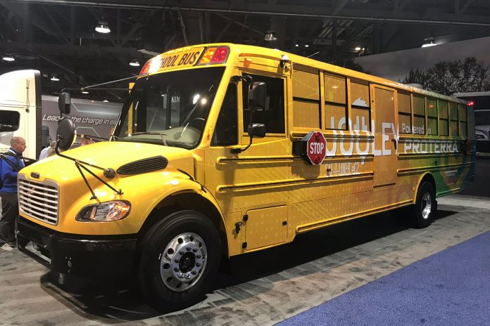 The Thomas Built Buses Saf-T-Liner C2 Jouley electric school bus with battery pack, thermal management software from Proterra. The bus was displayed at the ACT EXPO in Long Beach, California on April 26, 2019.