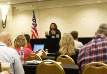 Sen. Tammy Duckworth addresses the audience during the 51st annual NASDPTS conference 2019 on Oct. 16.