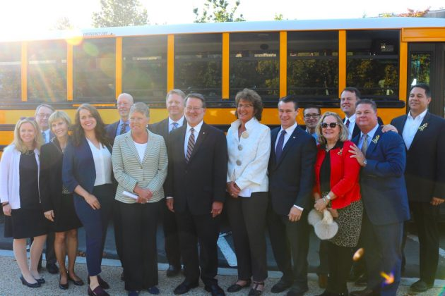 Sponsors of the bipartisan STOP for School Buses Act and representatives of the National School Transportation Association and Safe Fleet gathered for a demonstration of school bus safety technology and discussion of efforts to prevent illegal passing of buses.