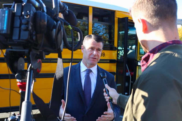 U.S. Sen. Todd Young of Indiana discussed his school bus safety legislation with reporters.