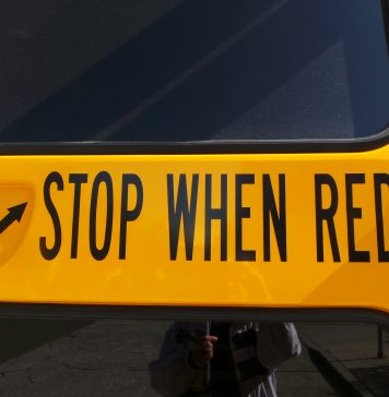 Stop When Red School Bus sign