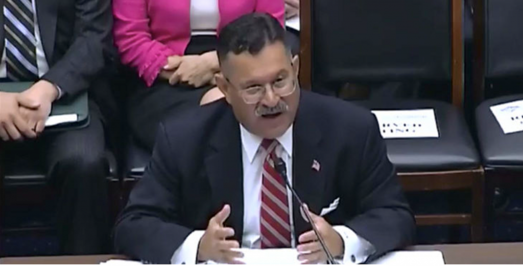 The FMCSA Administrator testifying before a Congressional committee.