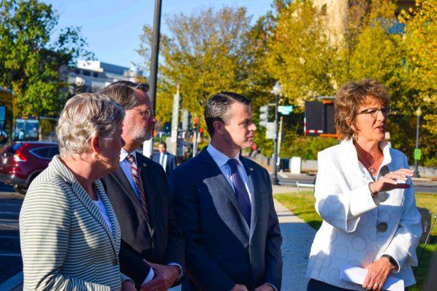 U.S. Sen. Todd Young of Indiana (center) and Rep. Jackie Walorski (far right) also from Indiana, discussed the legislation.