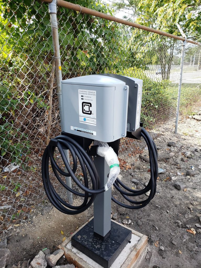 A new electric vehicle charging station. Photo courtesy of Krystyna M. Baumgartner, APR, public relations specialist at Bay Shore School District.