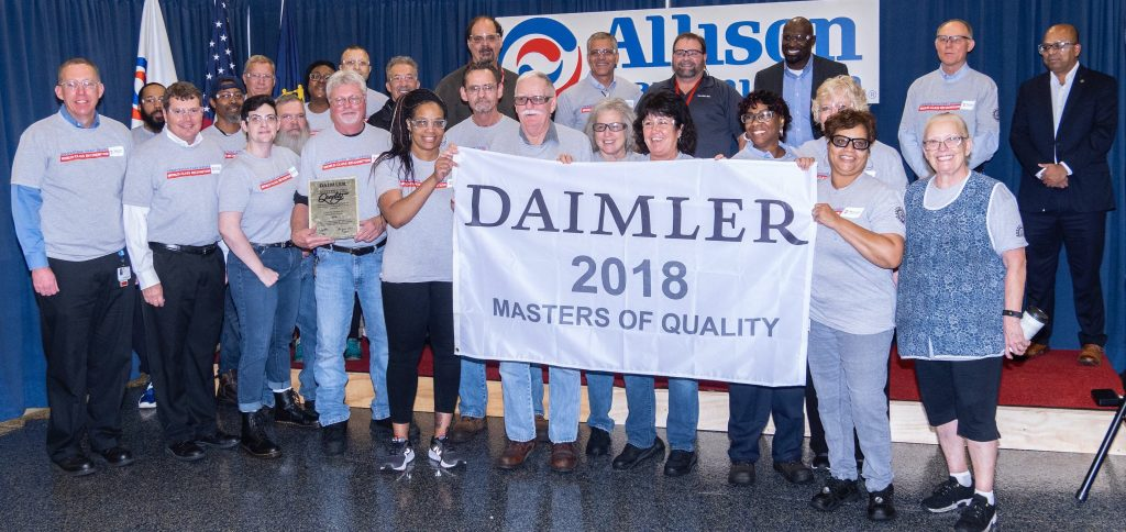 Allison employees welcomed DTNA representatives as they recognized the company with a 2018 Masters of Quality Supplier Award.