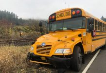 A school bus driver was arrested for DUII after a Nov. 13, 2019 crash with 10 children on board. Photo courtesy of the Washington County Sheriff's Office.