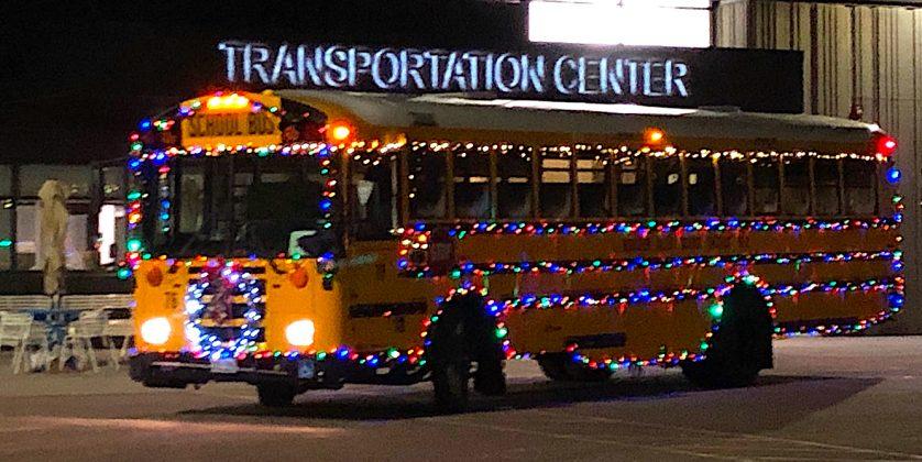 A decorated Boulder school bus.