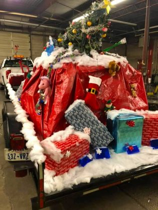 GoldStar Transit in Burleson, Texas, also took part in its local Christmas parade, complete with lots and lots of gifts.