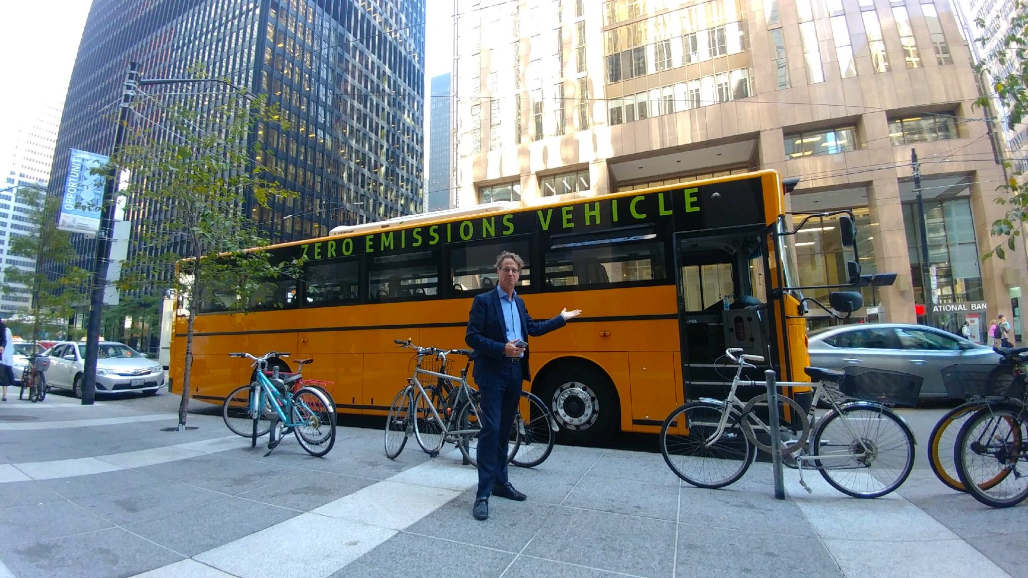GreenPower unveiled its Synapse 72 all-electric school bus on Oct. 5, 2017 in downtown Vancouver and conducted demonstration rides for local schools.