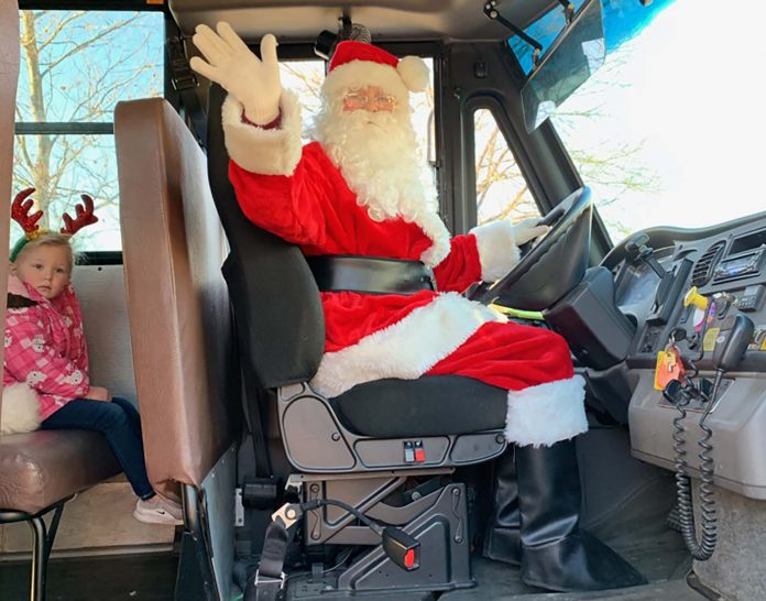 School bus driver Kathy Neidlinger dresses up as Santa Claus once a year. It is something she has performed for the past 36 years. Photo courtesy of Sandra Burns.