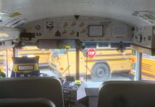 """David Jones, a school bus driver at Franklin Township Community School Corporation in Indiana, decorated his bus this year like the """"Magic School Bus."""""""