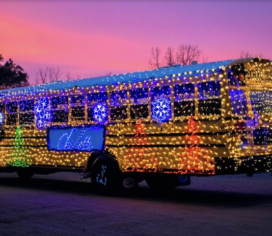 The evil Mr. Grinch hitched a ride on this Charlotte Public Schools bus in Lansing, Michigan, in the City Parade there, reported Kathy Vance, transportation supervisor.
