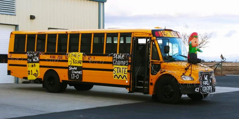 The football team won the state championship for the first time in 27 years, so Kuna School District Transportation entered its school bus in the town night light parade (the theme was Elf on the Shelf), said Yvonna Bocci.jpg