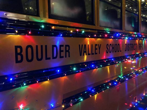 There definitely can never be enough twinkly lights, especially for this Boulder school bus.