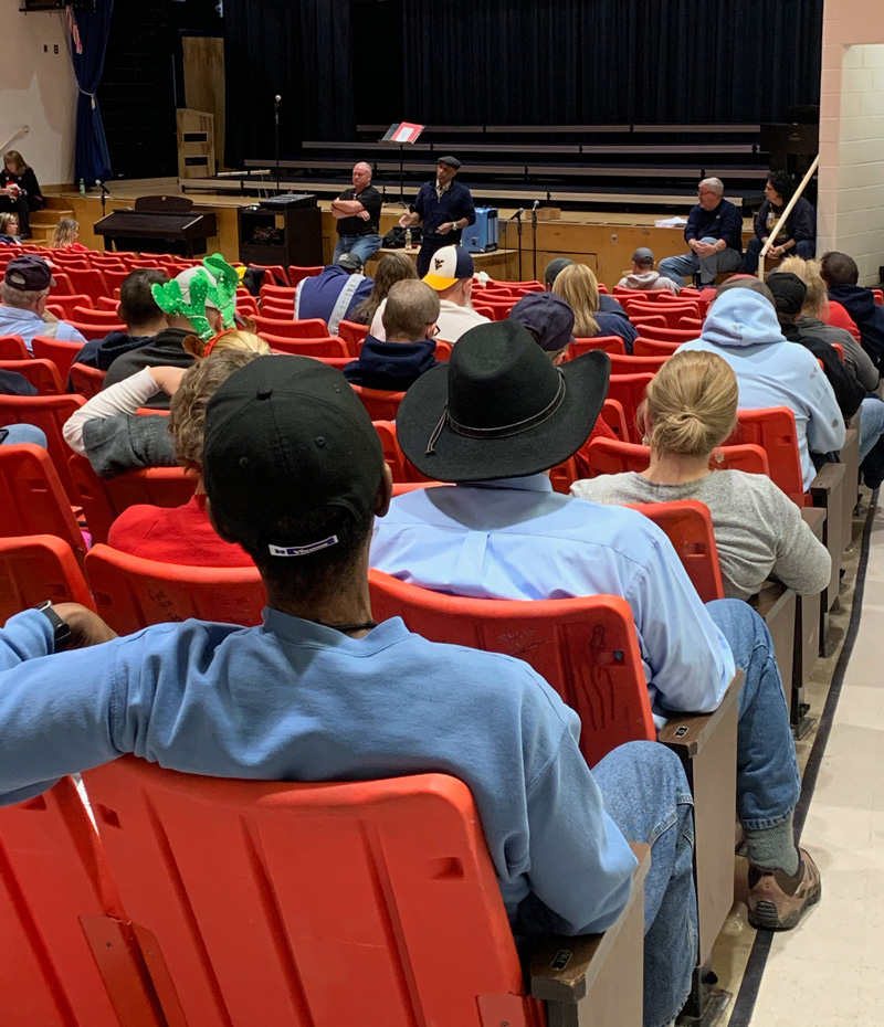 School bus drivers listen during inservice training on Dec. 11, 2019 at Kanawha County Schools in West Virginia.
