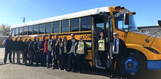 Twin Rivers Unified School District Director of Transportation, Timothy Shannon, far right, and his colleagues.