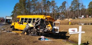 A tractor-trailer crashed into a stopped school bus in Columbus County, North Carolina, on Jan. 7, 2019. Photo courtesy of WECT.