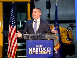 Mike Martucci announces his candidacy as senator for New York's 42nd district during at a campaign launch event on Thursday, Jan. 16, 2019.