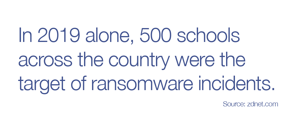 In 2019 alone, 500 schools across the country were the target of ransomware incidents.