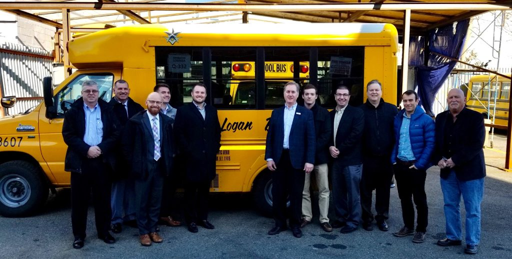 From left to right: Kevin Morrow (UTS), Gus Vila (Logan Bus) Jason Zimbler (NYSERDA), Mark Stegman (Logan Bus), Corey Muirhead (Logan Bus), Simon Lonsdale (AMPLY), Nolan Pues (Logan Bus) Joe Ambrosio (UES), Brent O'Daniel (Black & Veatch) David Siegal (AMPLY) and Roger Slotkin (AMPLY).
