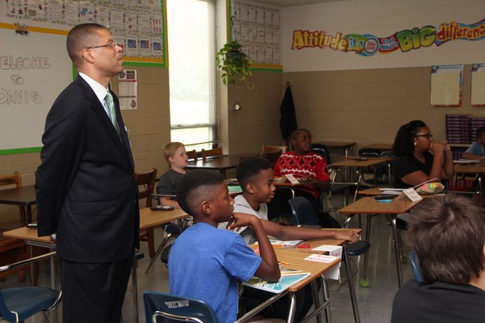 Dr. Jeffery O. Smith observes class. He is one of four finalists for 2020 Superintendent of the Year.
