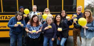 Marissa Plancher, (first row, second from left) used Love the Bus Month to show her transportation staff at Metuchen School District in New Jersey how much they mean to her.