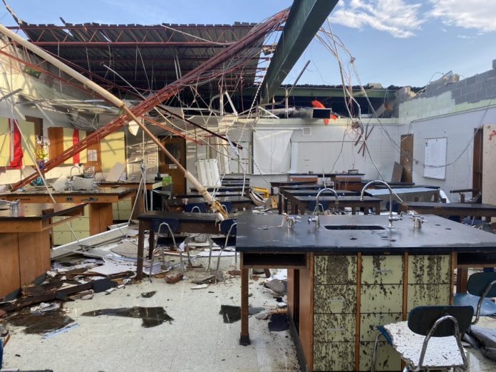 A damaged classroom at Wilson County Schools in Lebanon, Tennessee, caused by a tornado that tore through the state on March. 3, 2020. Twitter/@WilsonK12TN
