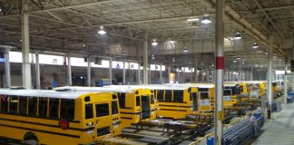 A 2015 file photo of the Thomas Built Buses Saf-T-Liner C2 plant in High Point, North Carolina.